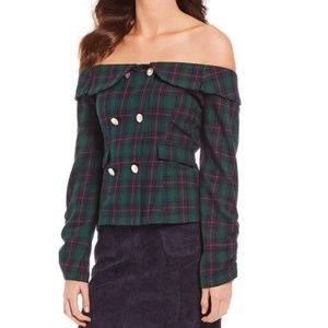 SugarLips Double Breasted Green Plaid Top   Medium